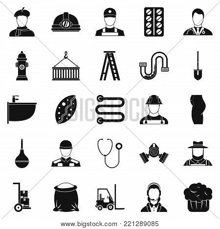 Different professions icons set. Simple set of 25 different professions vector icons for web isolated on white background