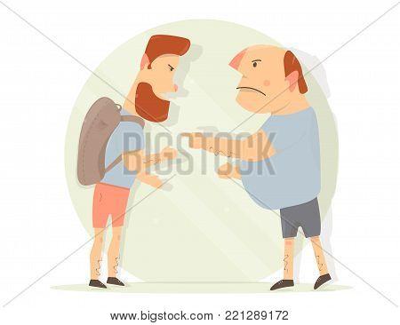 Dispute between two men. Generation gap. Male aggression.