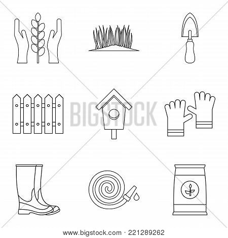 Ecology control icons set. Outline set of 9 ecology control vector icons for web isolated on white background