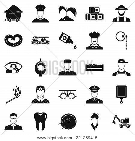 Occupational icons set. Simple set of 25 occupational vector icons for web isolated on white background