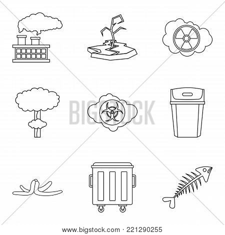 Ecological catastrophe icons set. Outline set of 9 ecological catastrophe vector icons for web isolated on white background