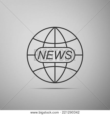 World and global news concept icon isolated on grey background. World globe symbol. News sign icon. Journalism theme, live news. Flat design. Vector Illustration