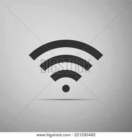 Wi-Fi network symbol flat icon on grey background. Flat design. Vector Illustration