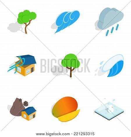 Natural hazard icons set. Isometric set of 9 natural hazard vector icons for web isolated on white background