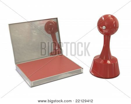 Stamper red cylindrical with ink pad