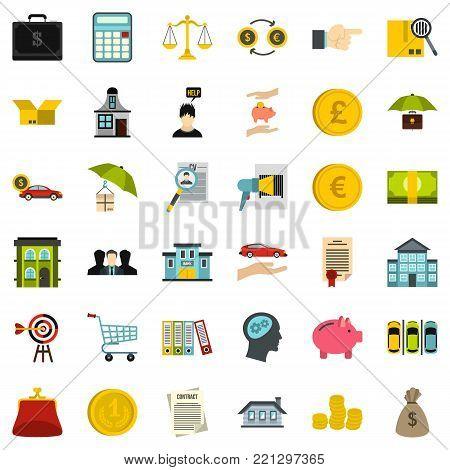 Accommodation icons set. Flat style of 36 accommodation vector icons for web isolated on white background