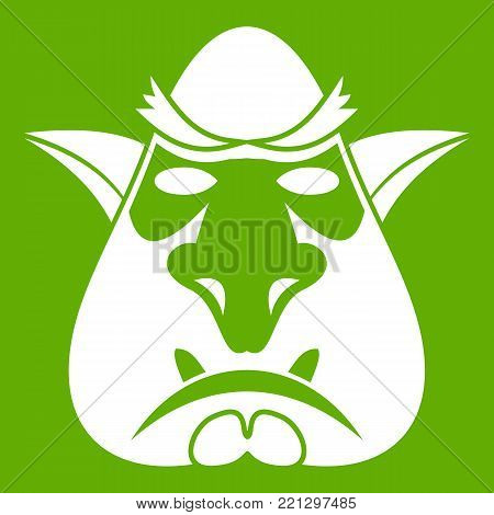 Head of troll icon white isolated on green background. Vector illustration