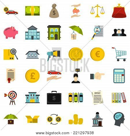 Credit icons set. Flat style of 36 credit vector icons for web isolated on white background