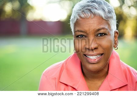 Portrait of an African American mature woman.