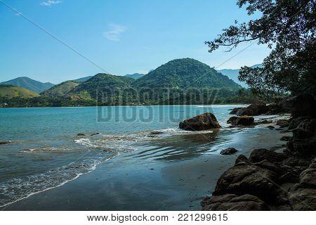 Tropical and deserted beach from Ubatuba, SP, Brazil