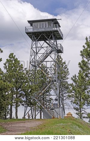 Fire Lookout Tower on a Mountain Top in the Blacks Hills in South Dakota