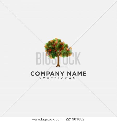Tree with abstract leaves colour. Vector tree icon. Tree forest, leaf tree isolated, tree branch nature green, plant eco branch tree, organic natural wood illustration. Vector illustration.
