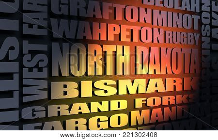Image relative to USA travel. North Dakota cities and places names cloud. 3D rendering