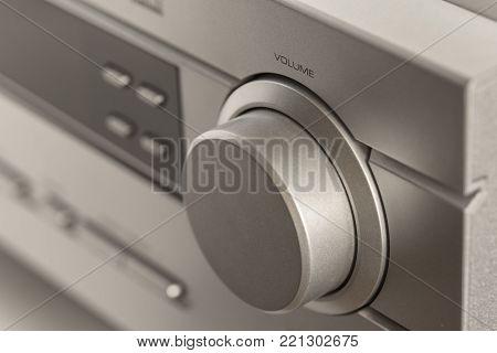 Volume button. Sound control. Hifi system amplifier.