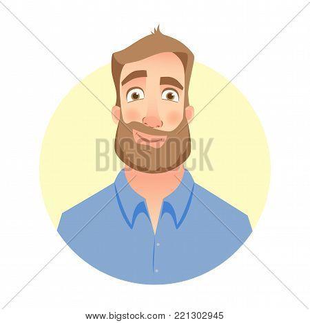 Smirking man. Face of man with beard