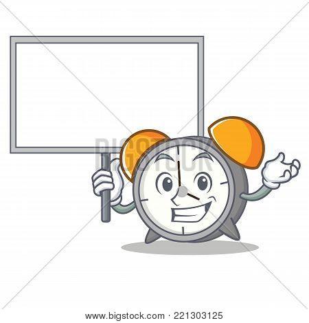 Bring board alarm clock character cartoon vector illustration