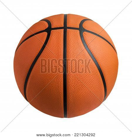 Basketball ball over white background. Basketball isolated. orange color Basketball. File contains a clipping path.