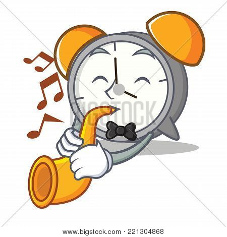 Wityh trumpet alarm clock mascot cartoon vector illustration