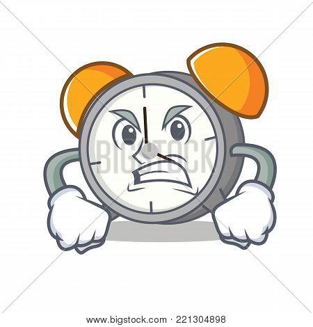 Angry alarm clock mascot cartoon vector illustration