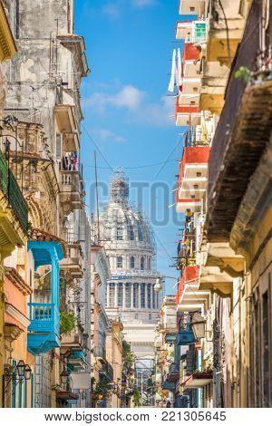 Havana, Cuba alley and Capitolio.