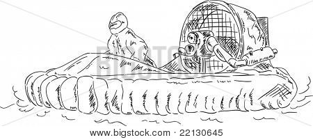 vector - male control hovercraft , isolated on background