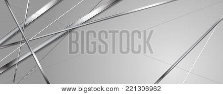 Metallic silver stripes abstract banner design. Vector header background