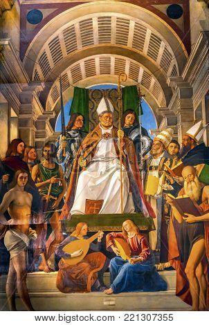 VENICE, iTALY - SEPTEMBER 21, 2017 Santa Maria Gloriosa de Frari Church Saint Ambrose Painting San Polo Venice Italy.  Church completed mid 1400s.  Saint Ambrose Saints Painting by Alvise Vivarini in 1503.