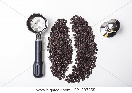 isolated coffee bean and coffee maker on white background