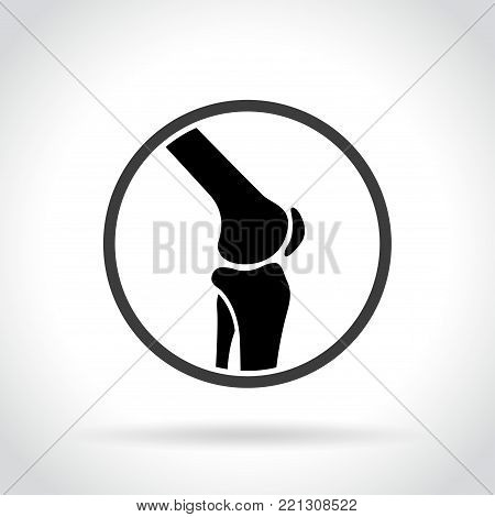 Illustration of knee joint icon on white background