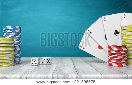 3d rendering of a stacks of casino chips with four ace cards on a wooden table on a blue background. Casino games. Stakes and bids. Poker night.