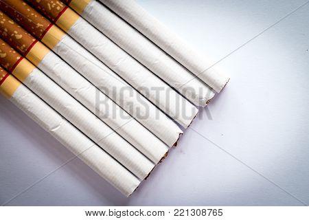 close-up of a cigarette, cigarette on white background