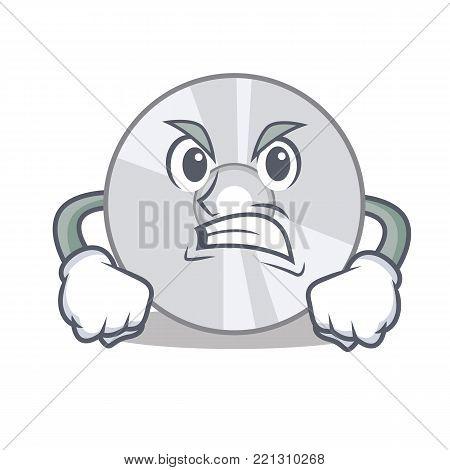 Angry CD mascot cartoon style vector illustration