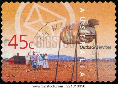AUSTRALIA, CIRCA 2001 : A stamp printed in the Australia dedicated to Postal Service, Outback Services, circa 2001
