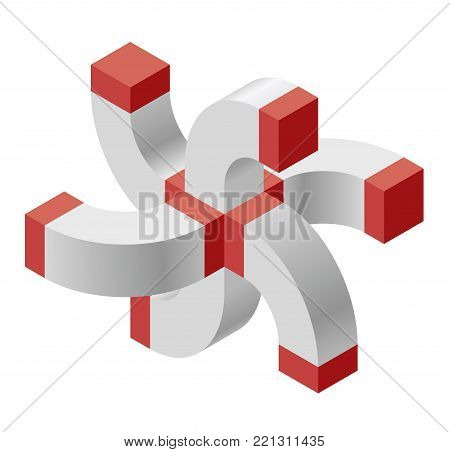 Abstract curved vector cross shape reminiscent of technological development, nanotechnology component. Red isometric brand of scientific institution, research center, laboratories, spatial paradox.