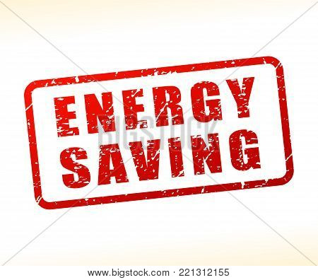 Illustration of energy saving text buffered on white background