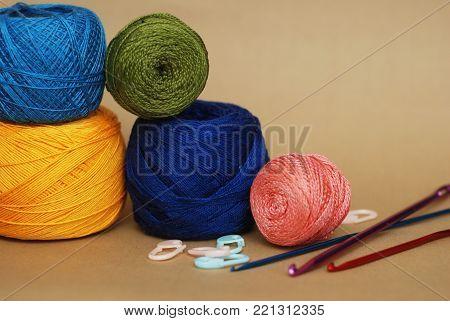 Thread Composition. Colored Crochet or Knitt Yarn