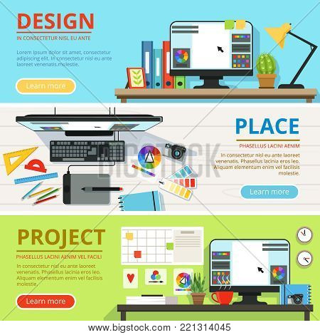 Workspace for computer designers and graphic artists . Horizontal banners with place for your text. Collection of place for design and work with project illustration