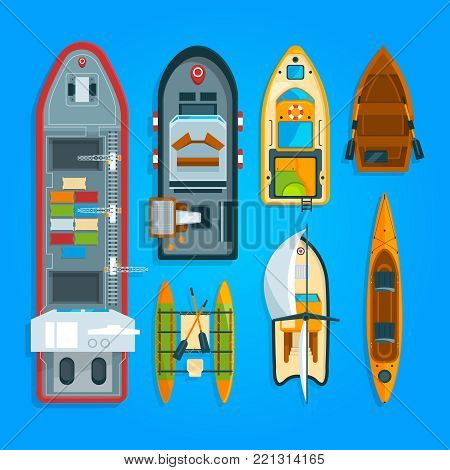 Different sea boats and ships. Vector illustrations top view. Ship and boat, water transport vessel and yacht