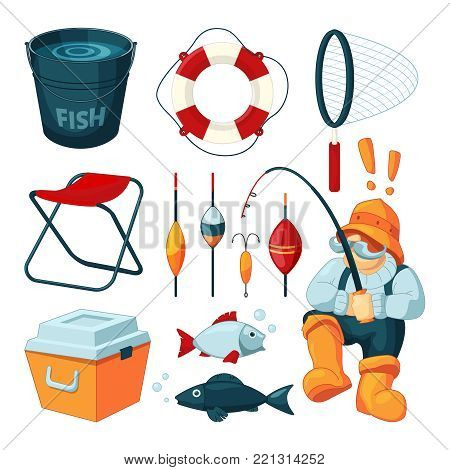 Different equipment for fishing. Fisherman with rod. Vector pictures set. Fisherman and fishing rod, hobby sport and leisure illustration