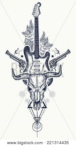 Rock and roll tattoo. Bull skull, guns, roses, electric guitar. Symbol of hard rock, music, western, heavy metal. Rock t-shirt design