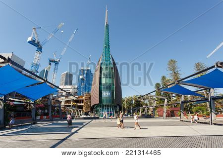 Perth, Australia - December 27, 2017: The Perth Bell Tower is home to the Swan Bells.
