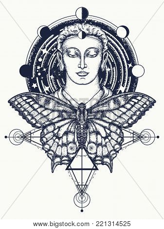 Buddha and butterfly tattoo. Buddha face tattoo art. Symbol of immortality, enlightenment, religion, magic. Space god Buddha and butterfly in deep space t-shirt design. Buddhism tattoo