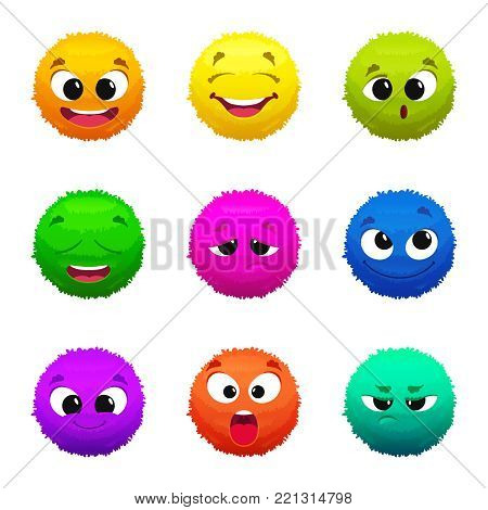 Funny colored furry emoticons. Cartoon characters with different emotions. Furry funny smile mascot collection illustration