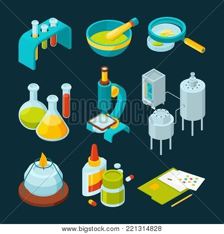 Pharmaceutical and chemical industry isometric illustrations. Chemical research laboratory, experiment medicine vector