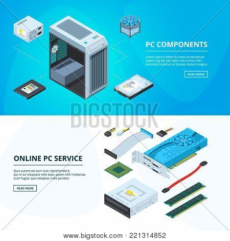 Horizontal banners set with different parts of personal computer. Processor and part of component computer. Vector illustration