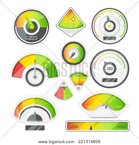 Different speed indicators. Vector pictures of speedometers and tachometers. Speedometer and tachometer indicator panel, measurement dashboard illustration