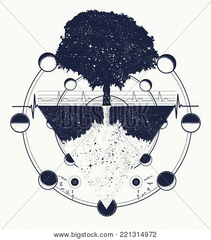 Tree Of Life Tattoo Art, Geometrical Style, Mystic Tribal Symbol. Future And The Past, Symbol Of Lif