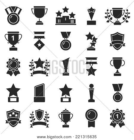 Monochrome pictures set of winner cups and sport trophies. Win and trophy award, sport prize, vector illustration