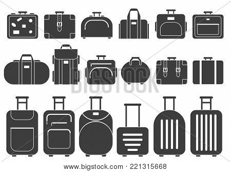 Vector monochrome pictures of suitcases and handbags. Illustration of black white suitcase, baggage and luggage