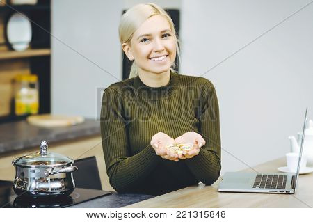 woman bitcoin trading happy hand hold coin